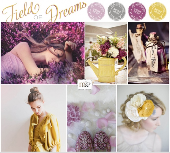 Purple, grey, lilac, and yellow
