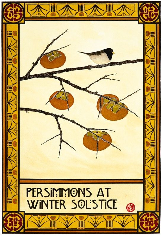 Art Print Arts And Crafts Style Persimmons At Winter Solstice