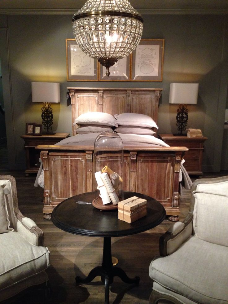 Cool Restoration Hardware Bedroom : Bedroom In Restoration Hardware With A Wood Bed Frame Chest At The ...