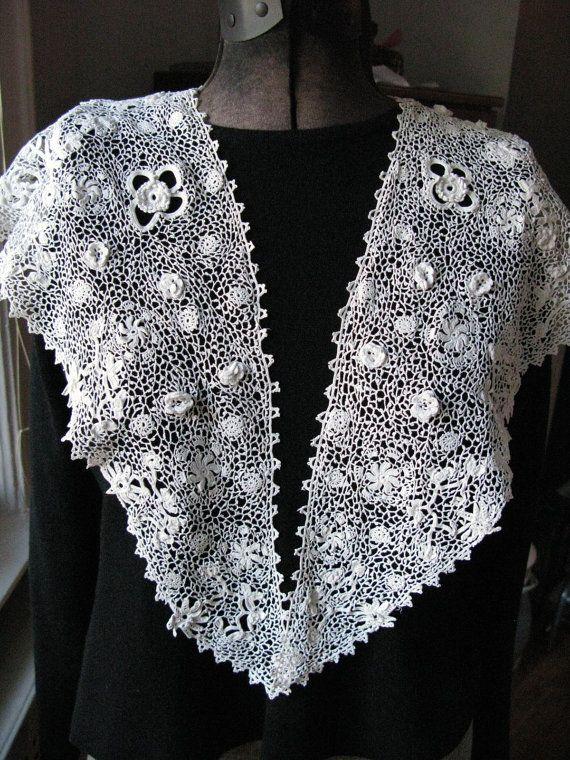 Irish Crochet Lace Shawl Pattern : Antique Irish Lace Shawl Crochet Antique Lace