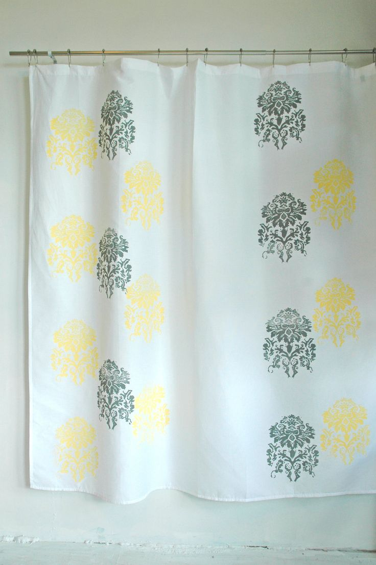 Yellow And White Curtains Etsy 28 Images Yellow And Gray Ruffled Shower Curtain By