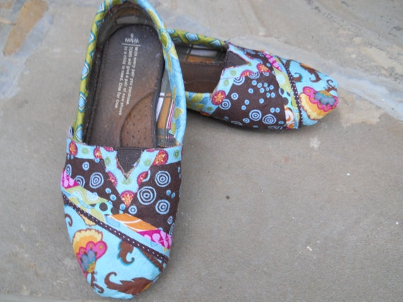 Fabric covered brown and turquoise Toms