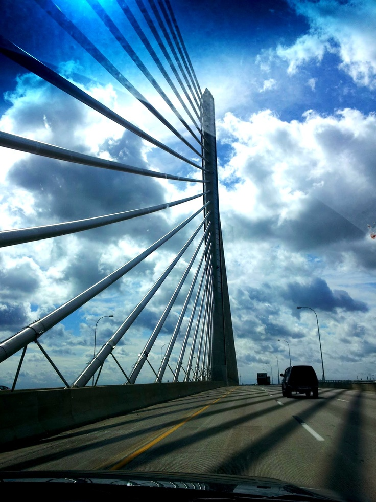 Driving on Veterans' Glass City Skyway
