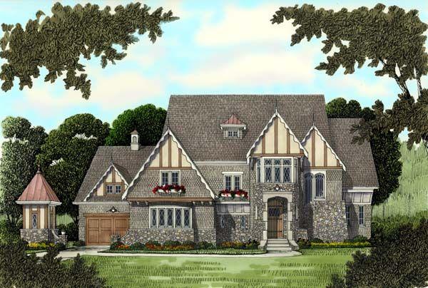 European Tudor Victorian House Plan 53743