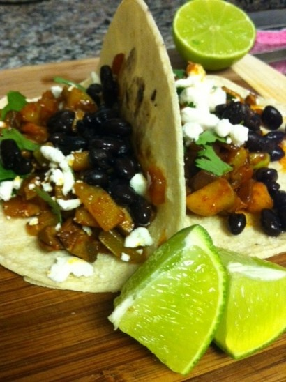 Black Bean, Chayote, Portobello and Goat Cheese Tacos V D without ...