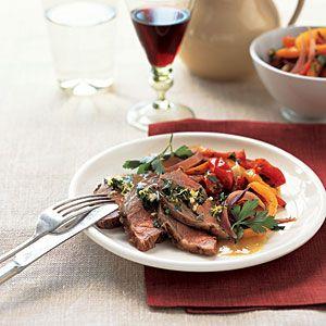 Roast Lamb with Peppers and Mint Gremolata | MyRecipes.com