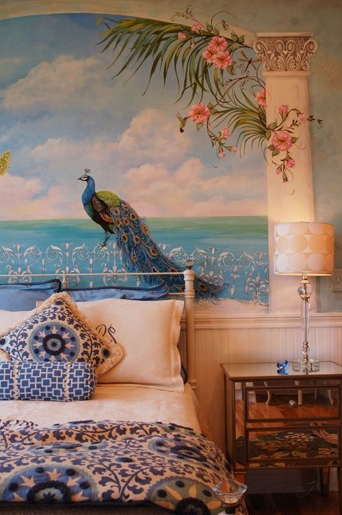 Trompe l'oeil Peacock Mural by Marilyn LeVan Designs----this is perfect for my sisters new room , when she moves !!!!!!!!!