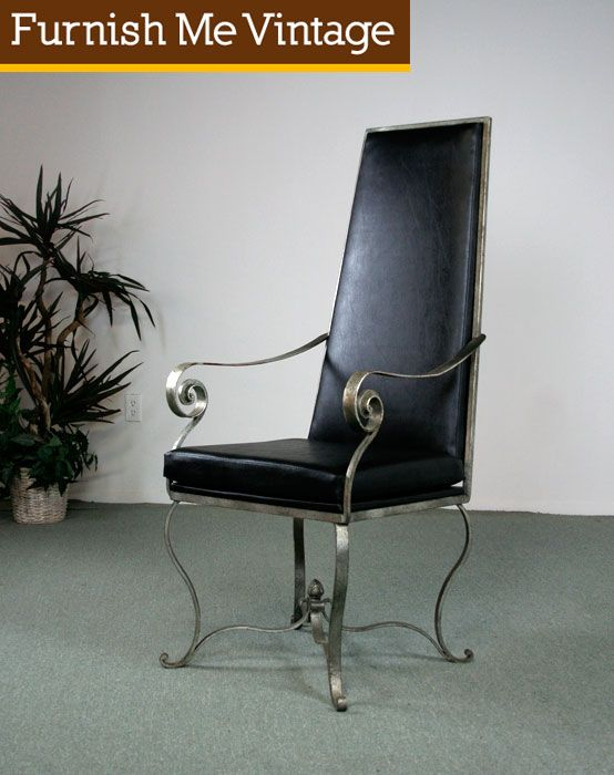 Vintage High Back Wrought Iron Regency Chair