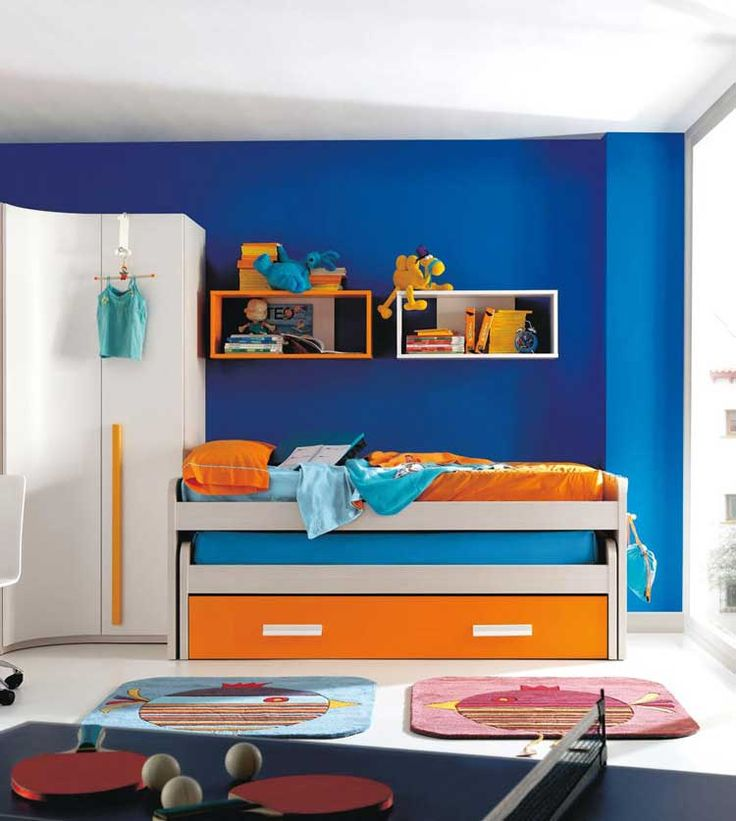 Interesting Blue Orange Bedroom Design