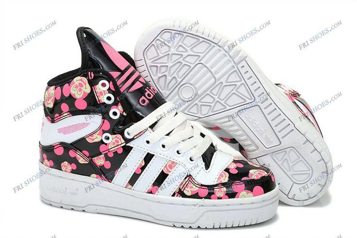 2013 Adidas Jeremy Scott Mickey Black Pink Women's Running Shoes