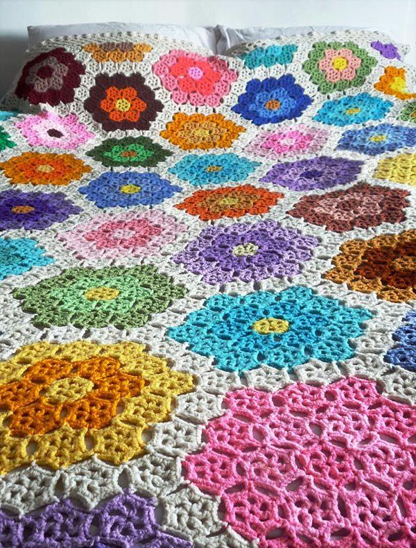 Grandmother's Flower Garden Afghan free crochet Pattern