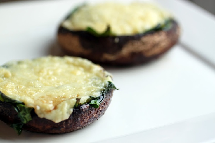 Portabella mushrooms with Spinach and Goat Cheese