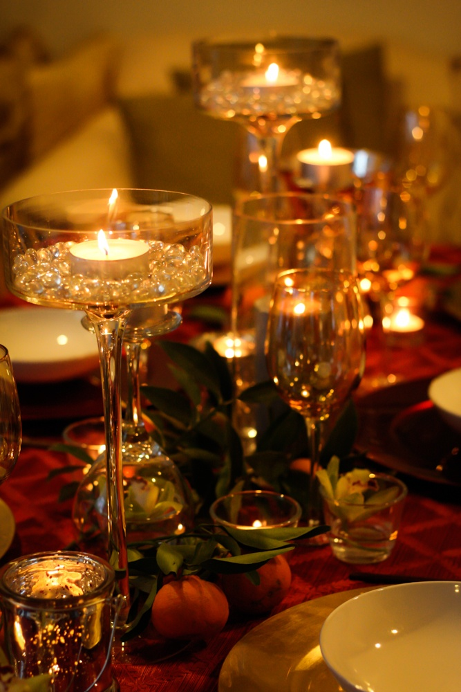 Chinese new year table setting - lots of gold glassware, orchids, and ...