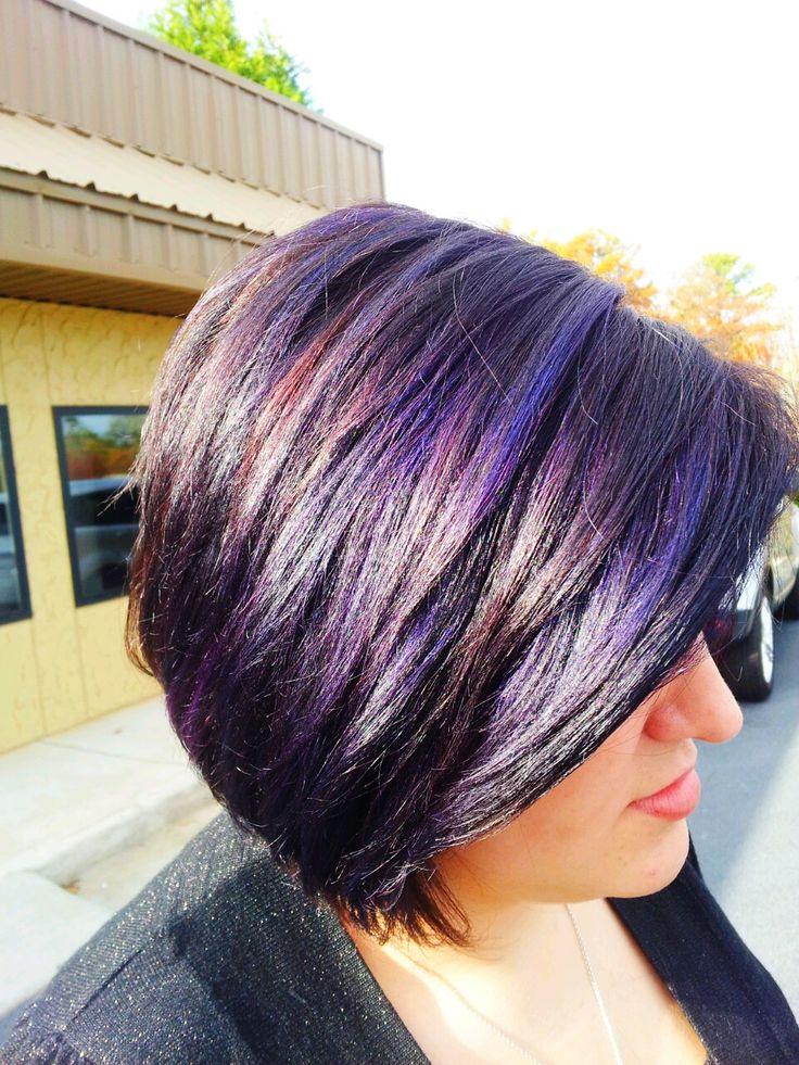 Auburn hair with purple streaks