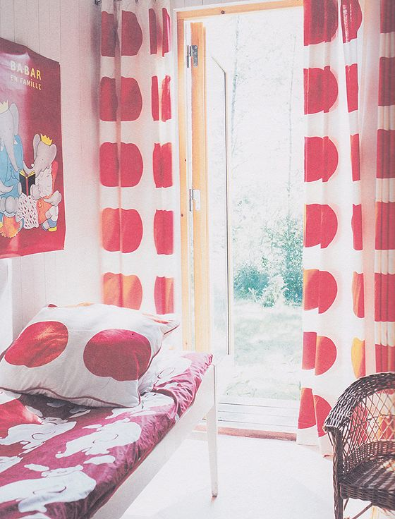 Red Polka Dot Curtains in Big Kid Room