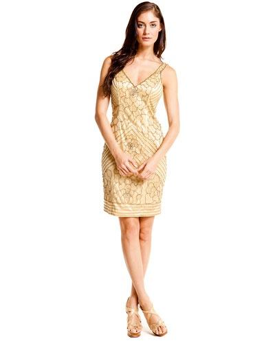 sue wong gold dress