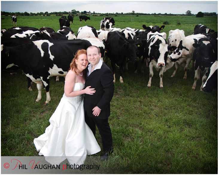wedding couple on dairy farm