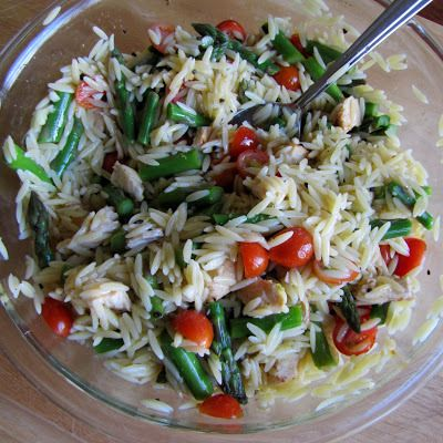 Lemon Orzo Pasta Salad with Chicken and Asparagus | Rumbly in my ...