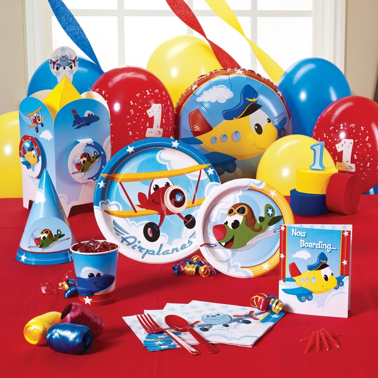 Airplane adventure 1st birthday party supplies for Airplane party decoration