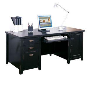 Furniture Tribeca Loft Black 69 inch W Double Pedestal Computer Desk