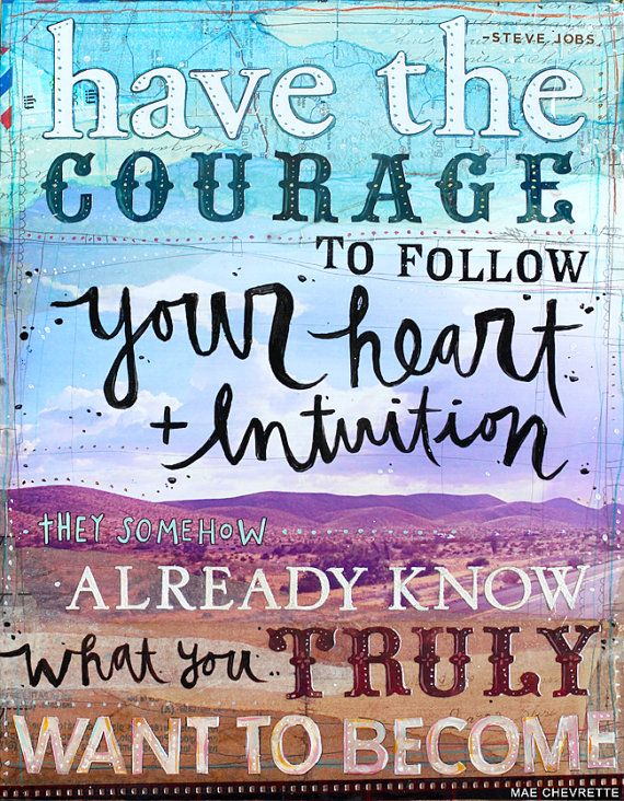 Heart and Intuition - 14 x 11 canvas print - Steve Jobs quote - inspirational mixed media word art, typography collage