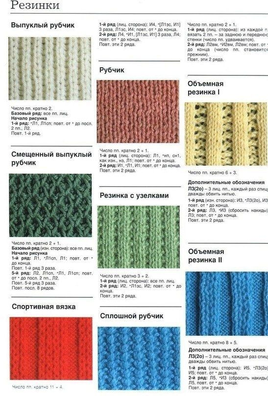 Способы вязание резинок спицами 214