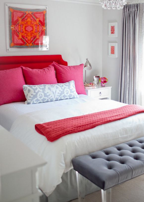 pink red and grey   stunning guest room decor