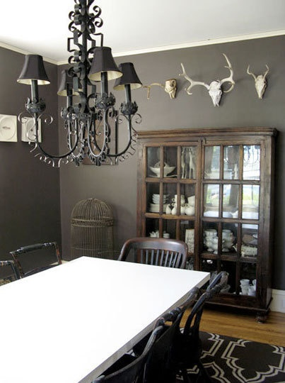 Dark Brown Walls Country Dining Room Dining Room Pinterest