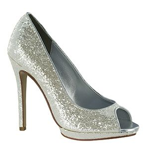 Touch Ups 4029 | Pearl Glitter Platform Shoes | Silver Prom Shoes