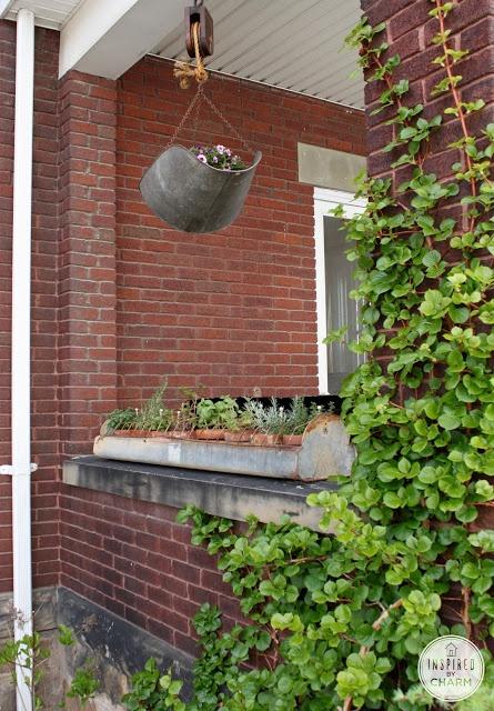 Inspired by Charm: Chicken Feeder Herb Garden