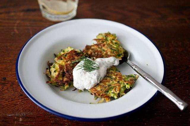 Zucchini Green Garlic Latkes with Yogurt Dipping Sauce by sassyradish ...