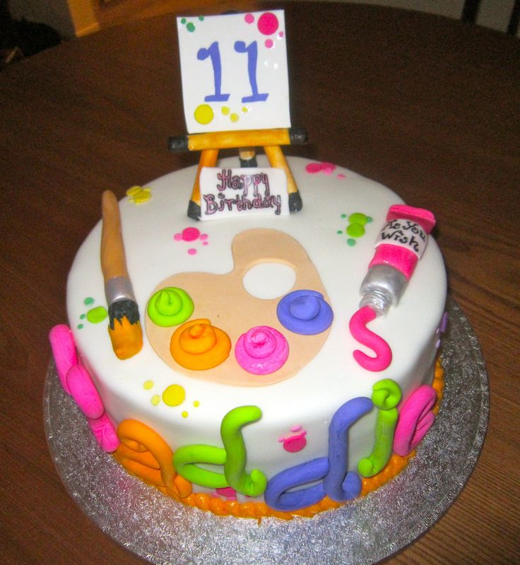 Art Party Cake Designs : Paint themed birthday cake Mackennas Art Party Pinterest