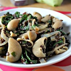 Lentils and shells with cilantro-scented onions and swiss chard. Stay ...