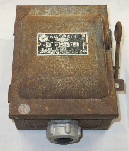 vintage wadsworth electrical fuse box with power shut n25 antique