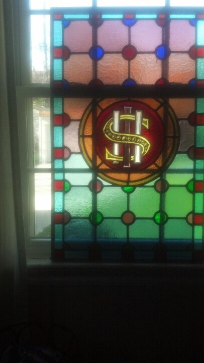 Stained glass church window late 1800