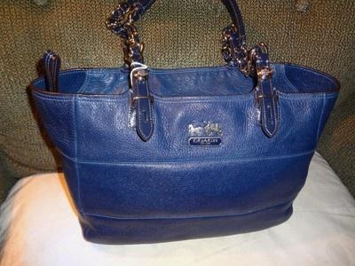 COACH - Madison TRIBECA Royal Navy Blue Leather TOTE HANDBAG #14111