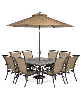 "Paradise Outdoor 9 Piece Set: 64"" Square Dining Table and 8 Dining Ch…"