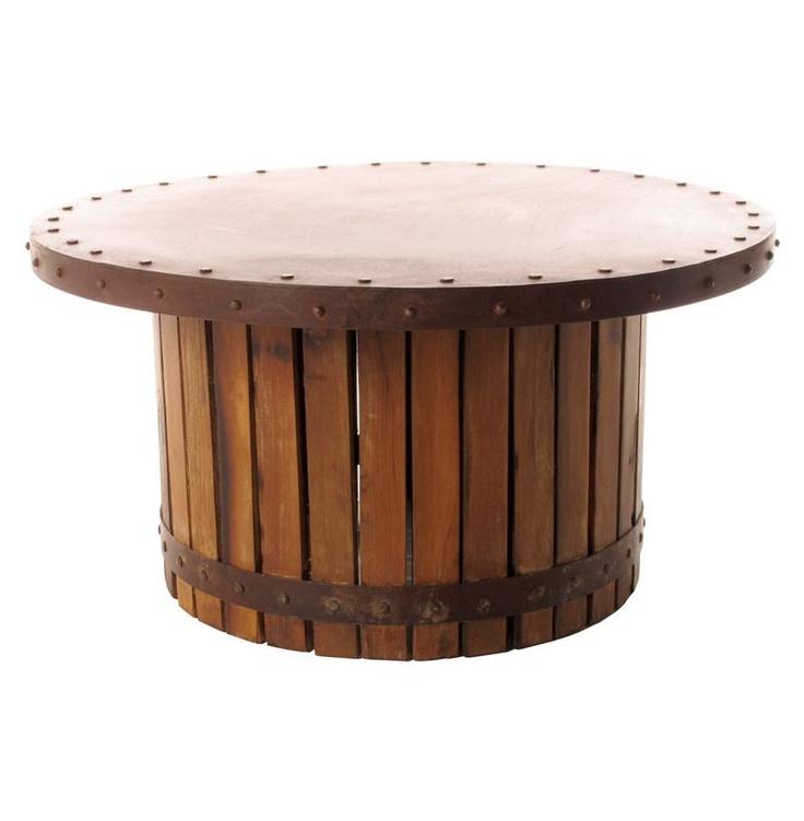 Sonoma Vintage Copper Iron Wood Barrel Round Coffee Table