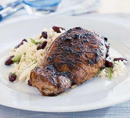 Jerk pork with rice & beans | Recipe