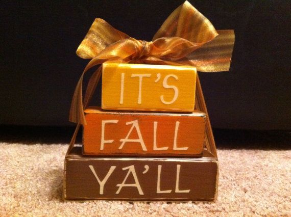 It's Fall Yall Wooden Blocks by jewelrybox36 on Etsy, $10.00