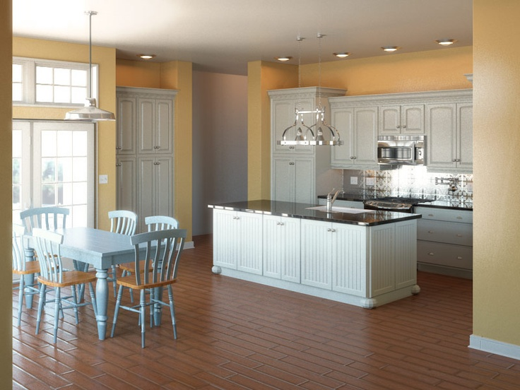Harvest Gold Wall Paint, white cabinets, dark granite, wood floors
