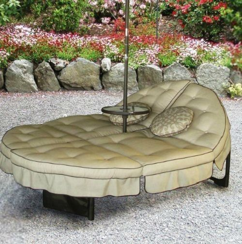 Round Patio Lounger Outdoor Double Chaise Garden Lawn Yard Pool Deck