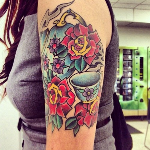 I just love colorful girly quarter sleeve like tattoos for Girly arm sleeve tattoos