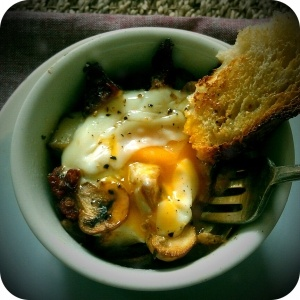 Make-Ahead Baked Eggs With Bacon, Mushrooms & Sage Recipe — Dishmaps