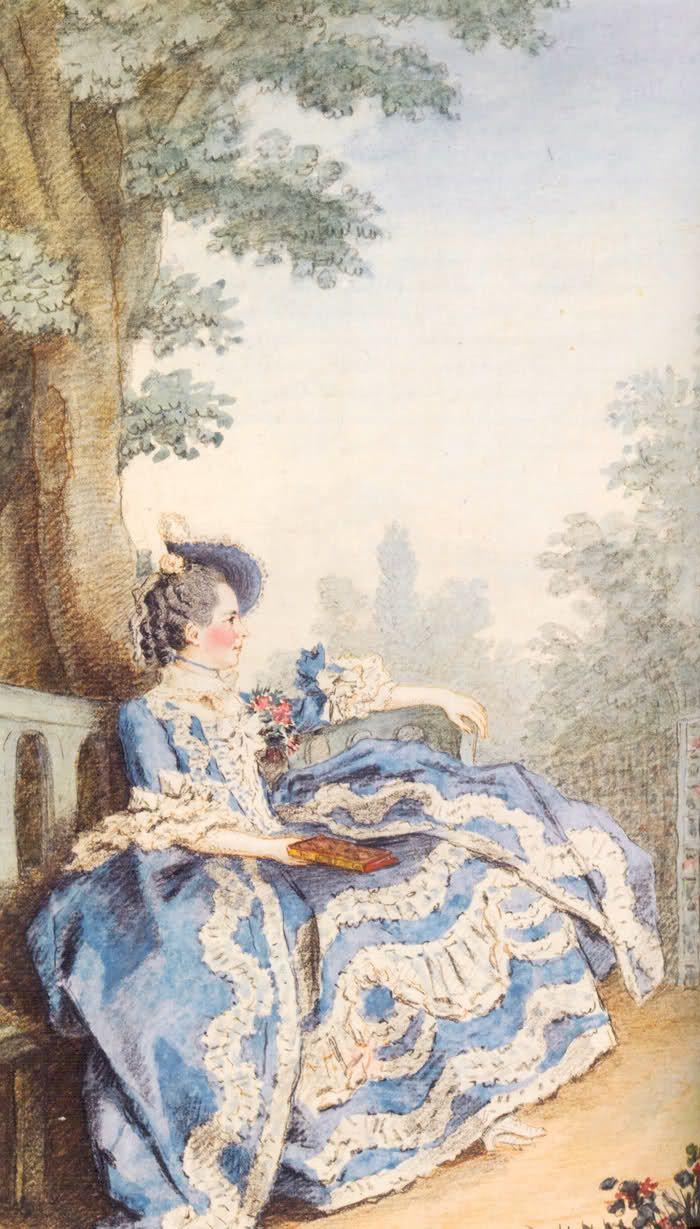 Мадам Эгмонт в своем саду Луи Carrogis Carmontelle, 1763