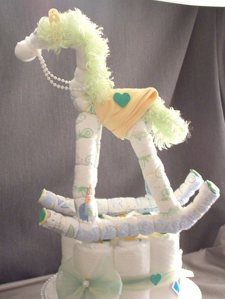 Rocking horse diaper cake decorations baby shower for Baby diaper decoration ideas