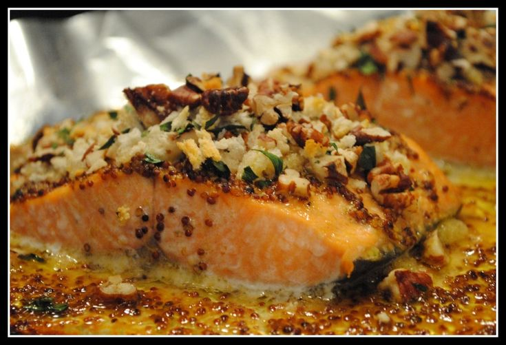 Baked Dijon Salmon. Improvised a little, but this was DELICIOUS!!