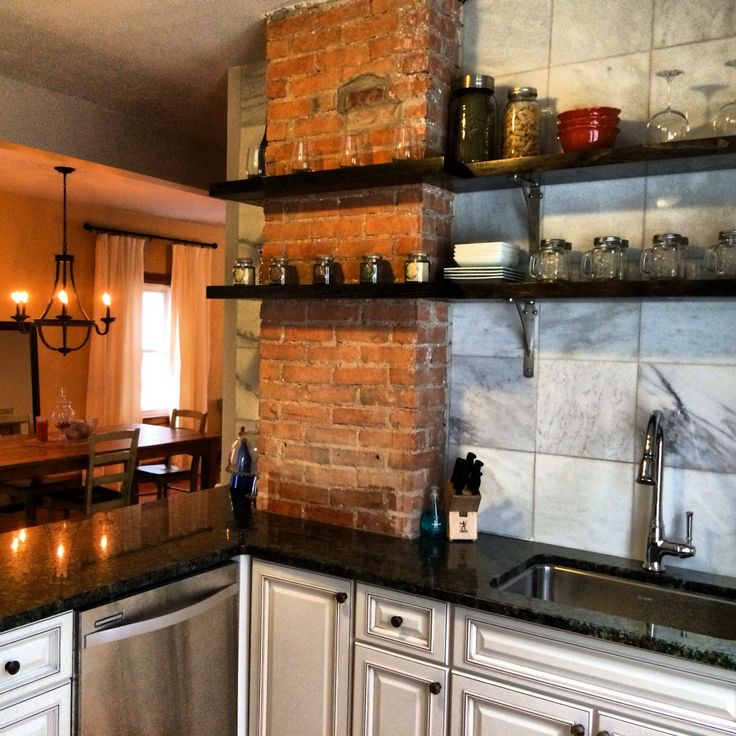 Exposed Brick Open Shelving Kitchen Big House Kitchen