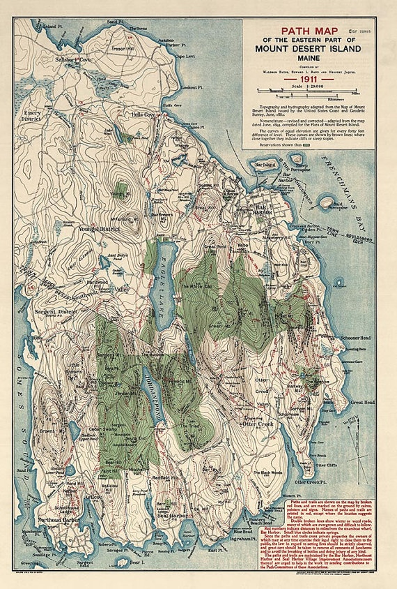Antique Map Of Acadia National Park Maine 1911
