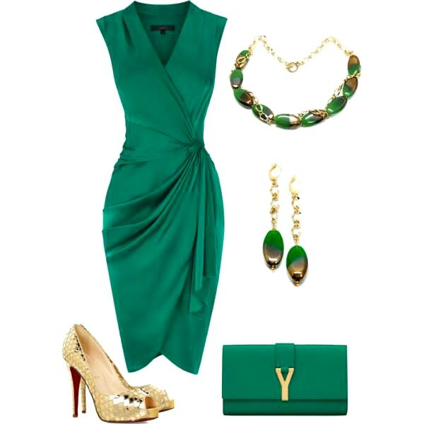 green and gold fashion clothing for